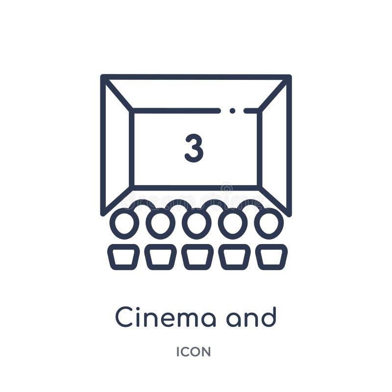 Icono linear del cine y de la audiencia de la colección del esquema del cine Línea fina cine e icono de la audiencia aislado en e stock de ilustración