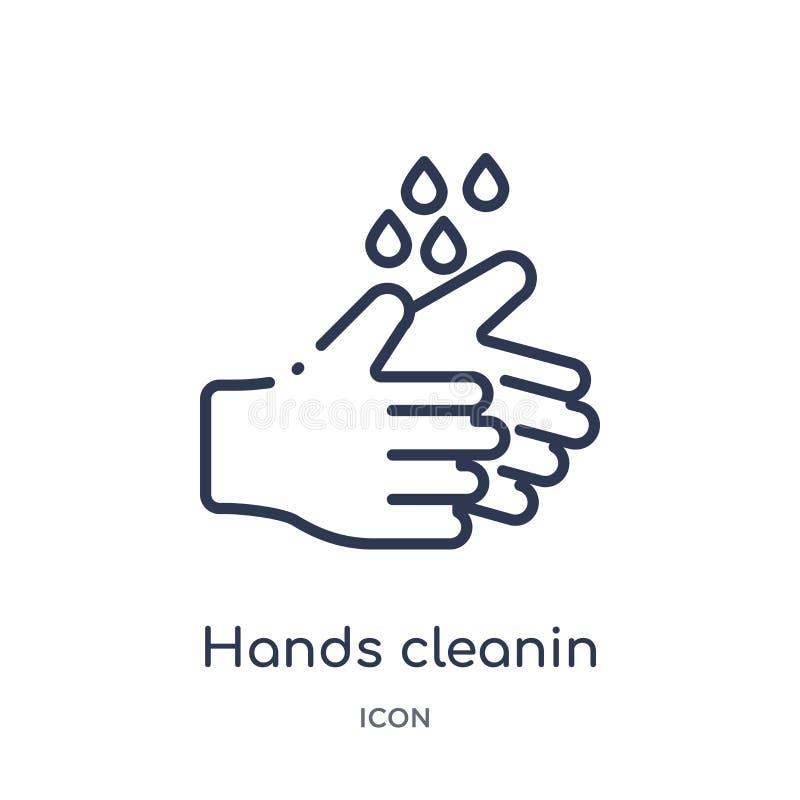 Icono linear del cleanin de las manos de la colección de limpieza del esquema Línea fina vector del cleanin de las manos aislado  ilustración del vector