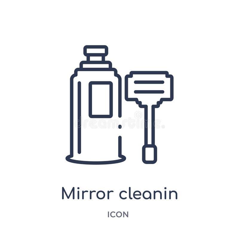 Icono linear del cleanin del espejo de la colección de limpieza del esquema Línea fina vector del cleanin del espejo aislado en e stock de ilustración