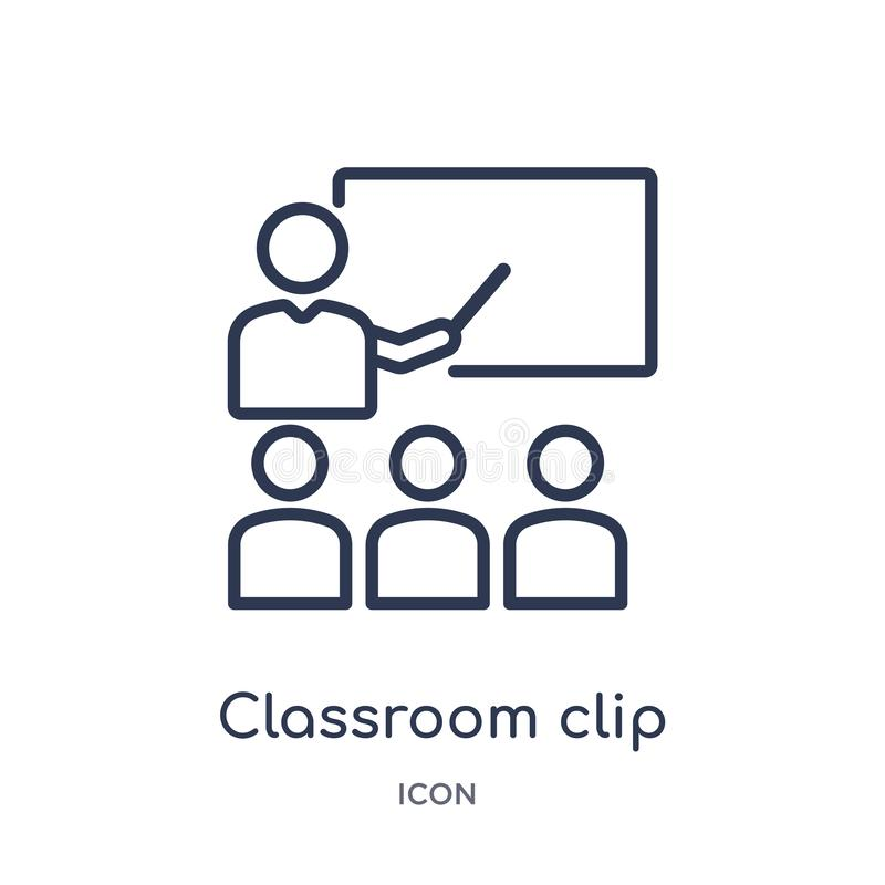 Icono linear del clip de la sala de clase de la colección del esquema general Línea fina icono del clip de la sala de clase aisla stock de ilustración