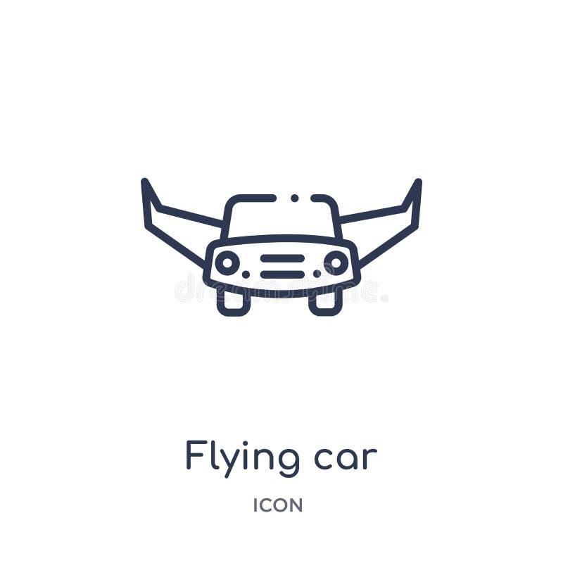 Icono linear del coche que vuela de la colección futura del esquema de la tecnología Línea fina icono del coche del vuelo aislado stock de ilustración