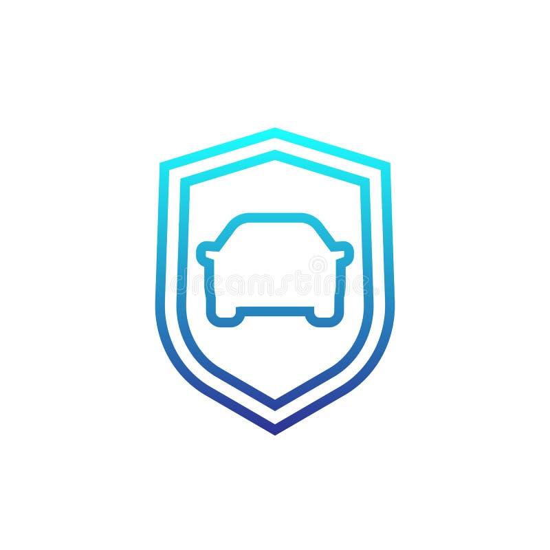 Icono linear del coche y del escudo stock de ilustración
