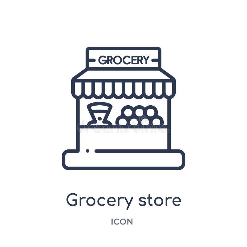 Icono linear del colmado de la colección del esquema del comercio Línea fina icono del colmado aislado en el fondo blanco grocery libre illustration