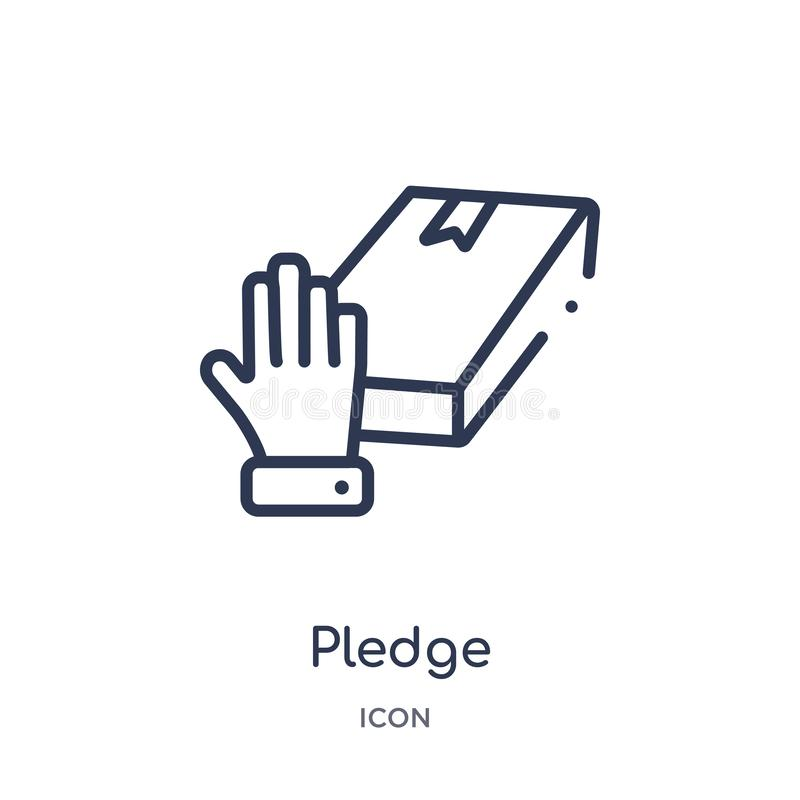 Icono linear del compromiso de la colección del esquema de Crowdfunding Línea fina vector del compromiso aislado en el fondo blan stock de ilustración