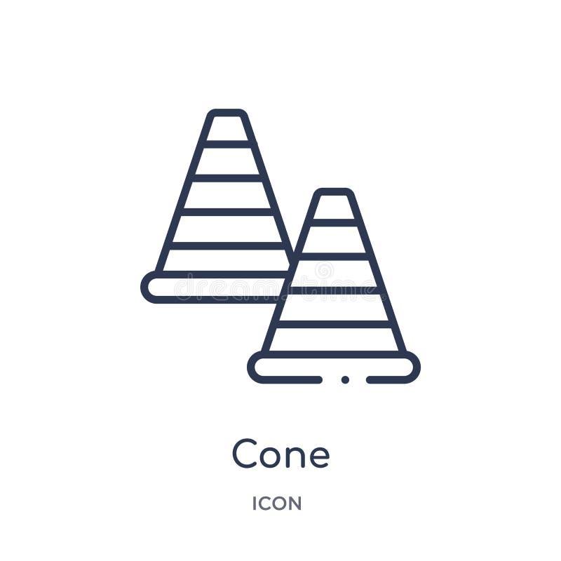 Icono linear del cono de la colección del esquema del fútbol Línea fina vector del cono aislado en el fondo blanco ejemplo de mod stock de ilustración