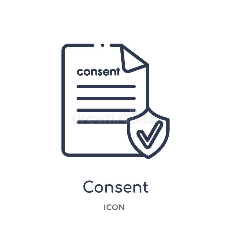 Icono linear del consentimiento de la colección del esquema de Gdpr Línea fina icono del consentimiento aislado en el fondo blanc libre illustration