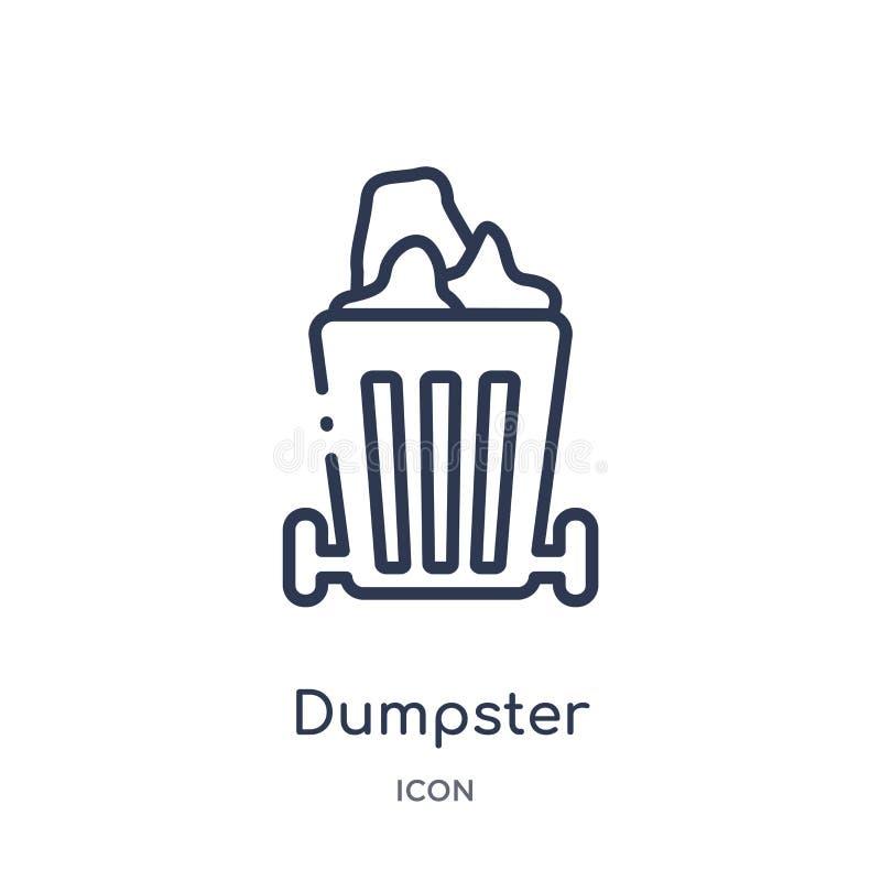 Icono linear del contenedor de la colección de limpieza del esquema Línea fina vector del contenedor aislado en el fondo blanco c stock de ilustración