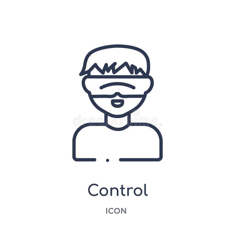 Icono linear del control de la colección del esquema de la inteligencia artificial Vector de control de línea fino aislado en el  stock de ilustración