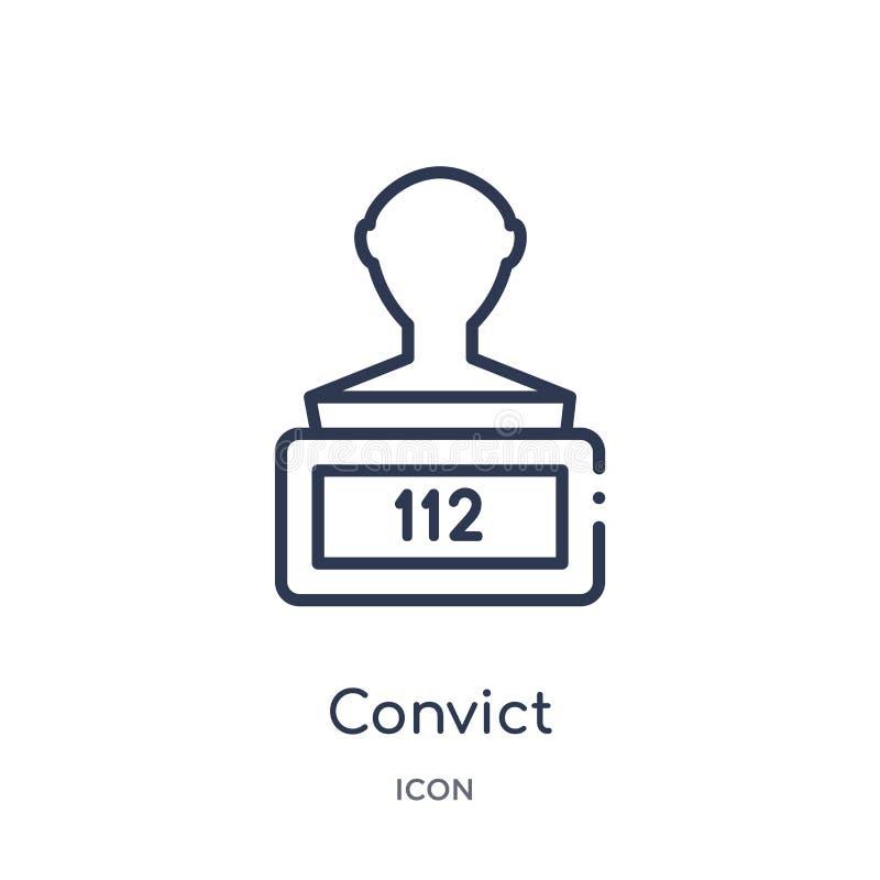 Icono linear del convicto de la colección del esquema de la ley y de la justicia Línea fina icono del convicto aislado en el fond libre illustration