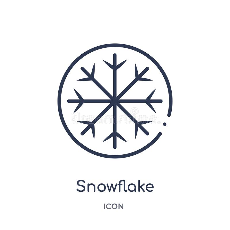 Icono linear del copo de nieve de la colección del esquema del hockey Línea fina icono del copo de nieve aislado en el fondo blan stock de ilustración