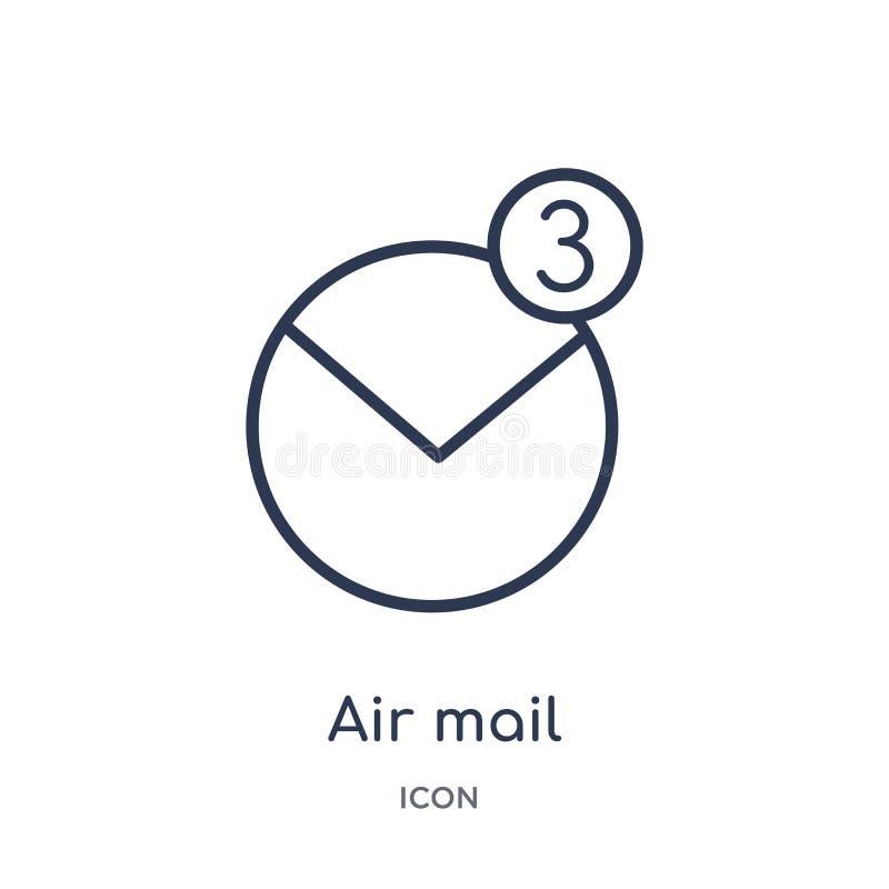 Icono linear del correo aéreo de la entrega y de la colección logística del esquema Línea fina vector del correo aéreo aislado en stock de ilustración