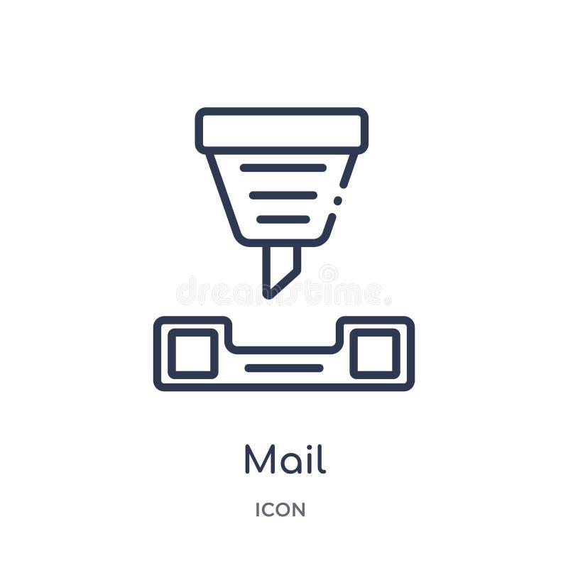Icono linear del correo del intellegence artificial y de la colección futura del esquema de la tecnología Línea fina vector del c ilustración del vector