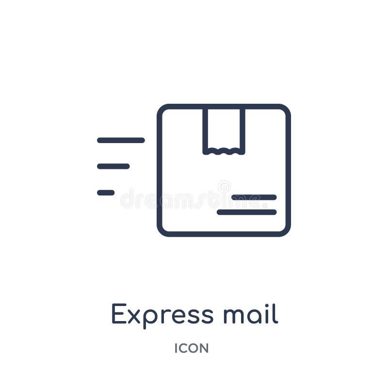 Icono linear del correo urgente de la entrega y de la colección logística del esquema Línea fina vector del correo urgente aislad ilustración del vector