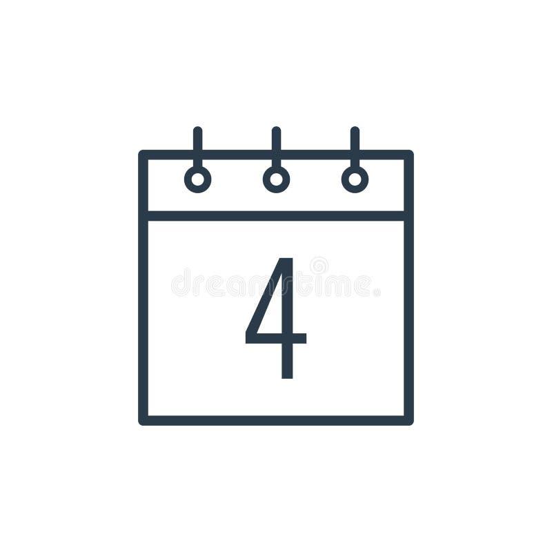Icono linear del cuarto día del calendario libre illustration