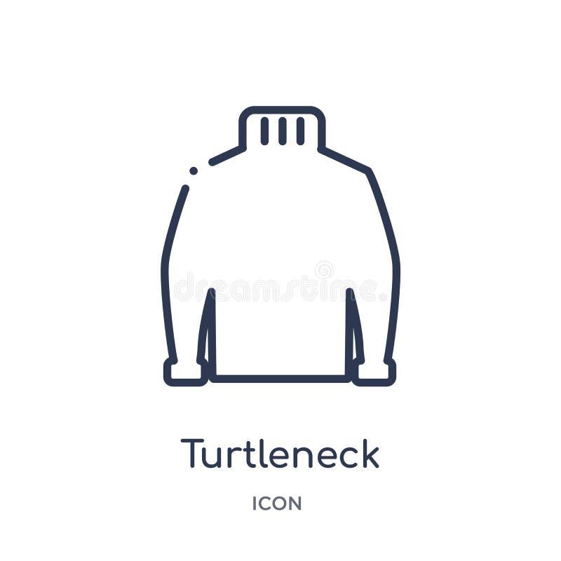 Icono linear del cuello alto de la colección del esquema de la ropa Línea fina vector del cuello alto aislado en el fondo blanco  libre illustration