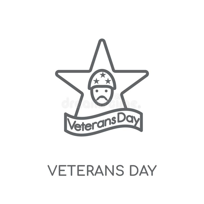 Icono linear del día de veteranos Conce moderno del logotipo del día de veteranos del esquema stock de ilustración