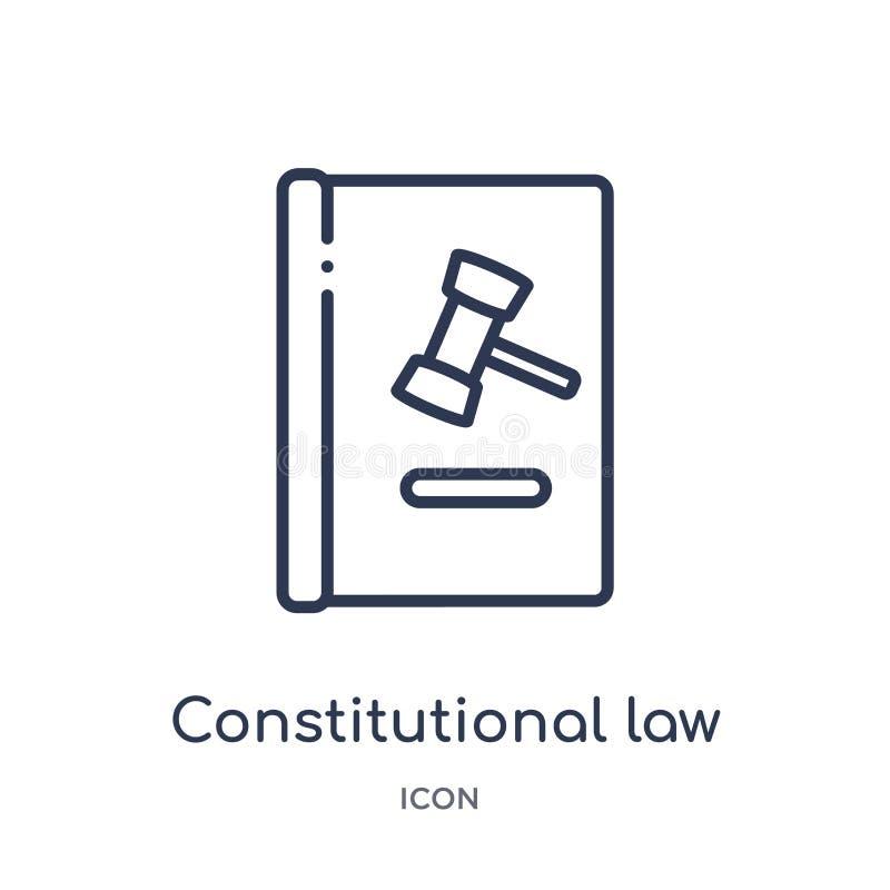 Icono linear del derecho constitucional de la colección del esquema de la ley y de la justicia Línea fina icono del derecho const stock de ilustración