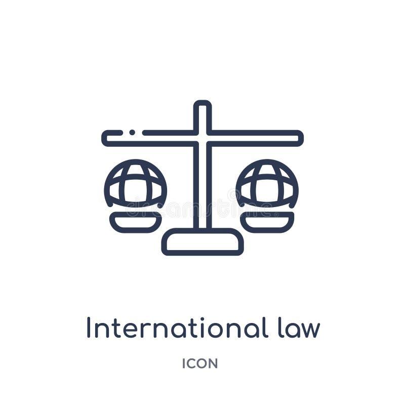 Icono linear del derecho internacional de la colección del esquema de la ley y de la justicia Línea fina icono del derecho intern ilustración del vector