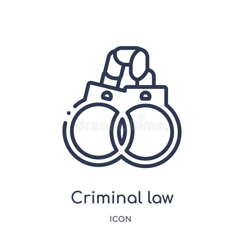 Icono linear del derecho penal de la colección del esquema de la ley y de la justicia Línea fina icono del derecho penal aislado  libre illustration