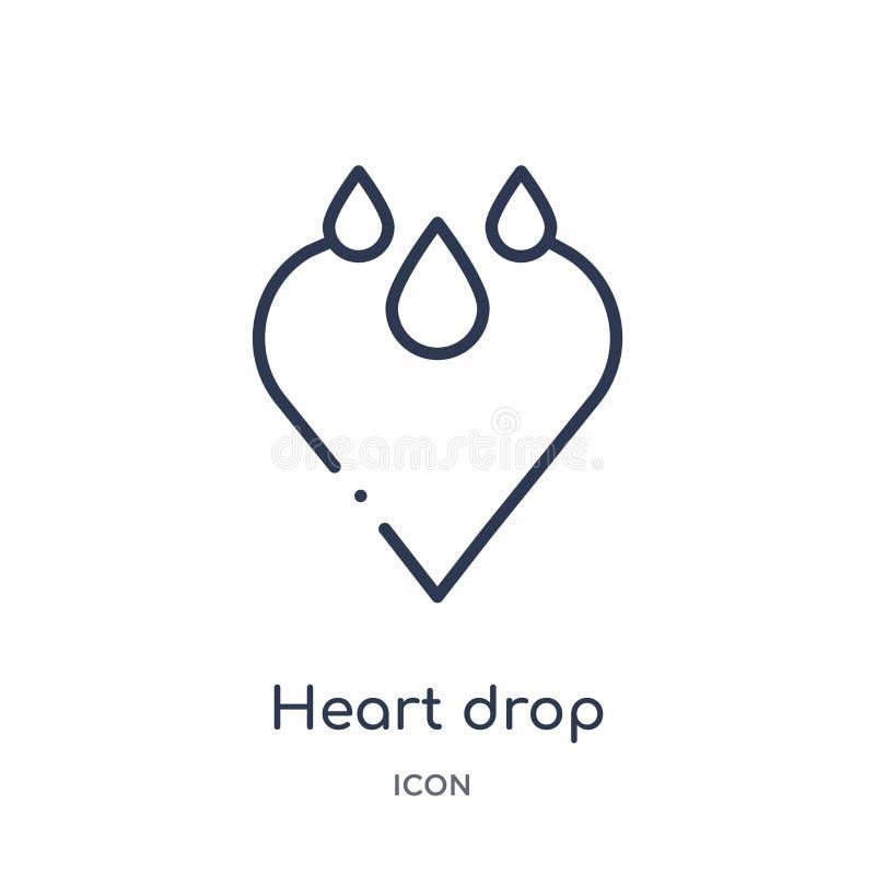 Icono linear del descenso del corazón de la colección del esquema de la caridad Línea fina vector del descenso del corazón aislad stock de ilustración