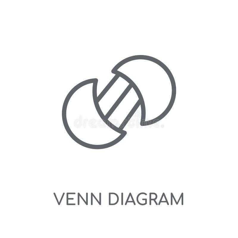 Icono linear del diagrama de Venn Conce moderno del logotipo del diagrama de Venn del esquema stock de ilustración