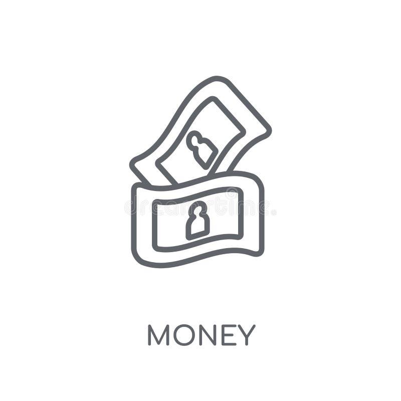 Icono linear del dinero Concepto moderno del logotipo del dinero del esquema en los vagos blancos stock de ilustración