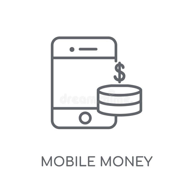 Icono linear del dinero móvil Conce móvil del logotipo del dinero del esquema moderno stock de ilustración