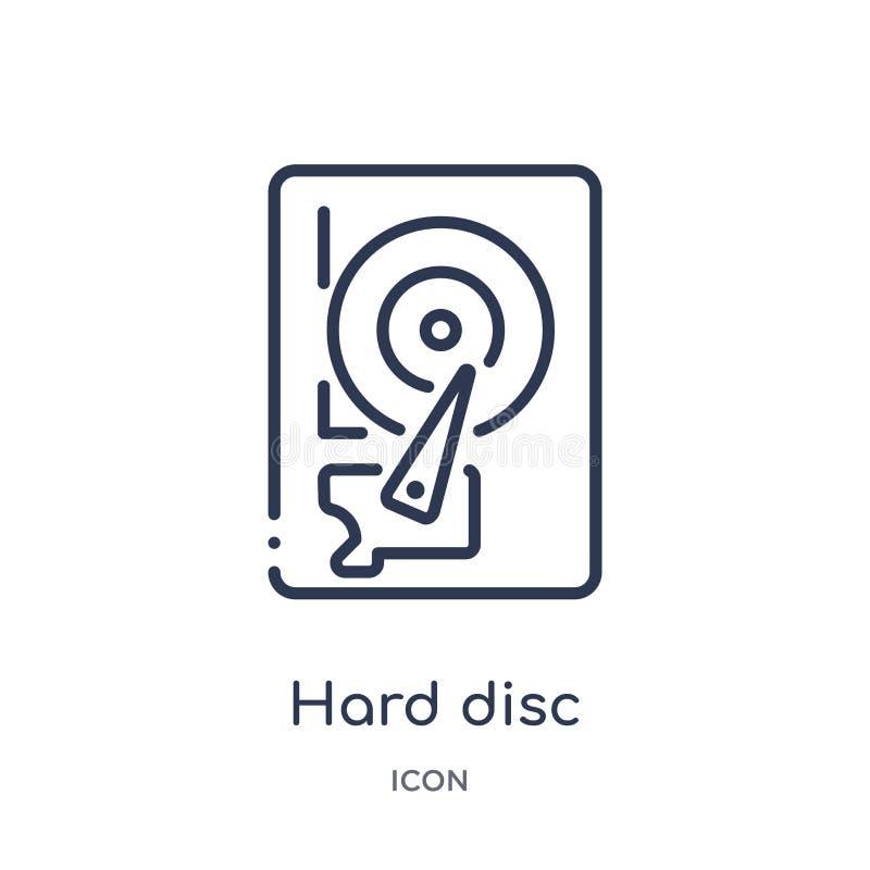 Icono linear del disco duro de la seguridad de Internet y de la colección del esquema del establecimiento de una red Línea fina i libre illustration