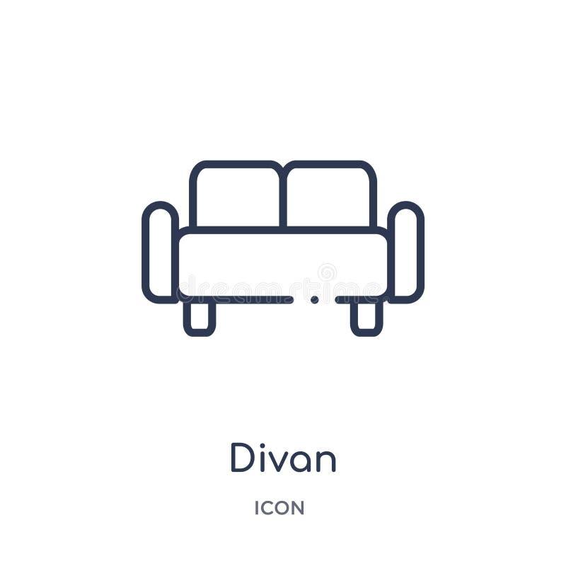 Icono linear del diván de la colección del esquema de los muebles Línea fina icono del diván aislado en el fondo blanco ejemplo d libre illustration