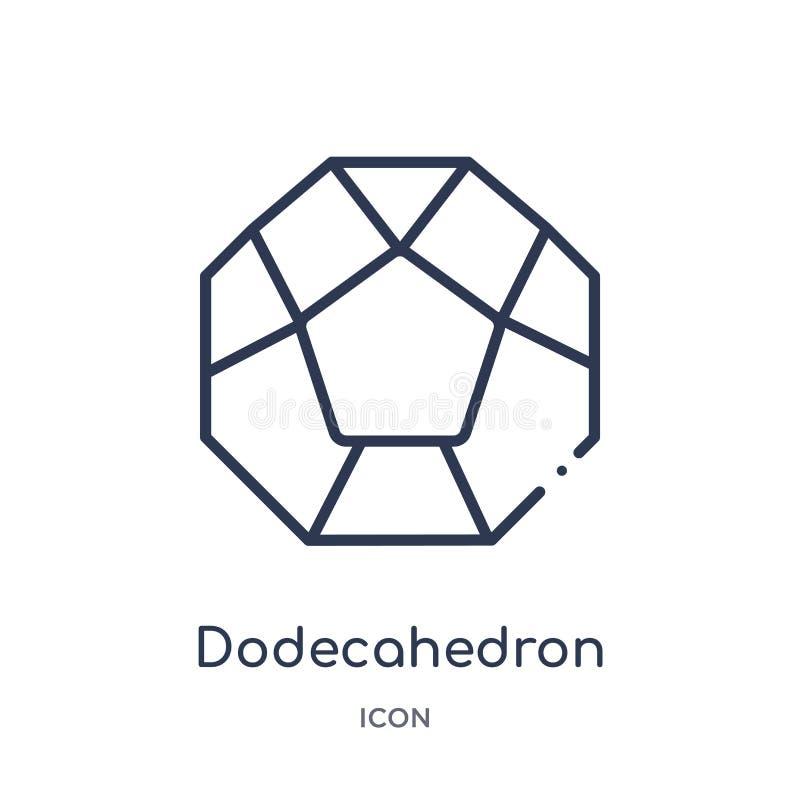 Icono linear del dodecahedron de la colección del esquema de la geometría Línea fina icono del dodecahedron aislado en el fondo b libre illustration