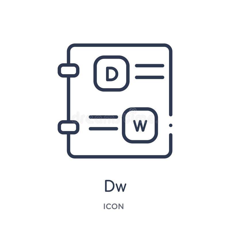 Icono linear del dw de la colección del esquema del tipo de archivo Línea fina vector del dw aislado en el fondo blanco ejemplo d stock de ilustración