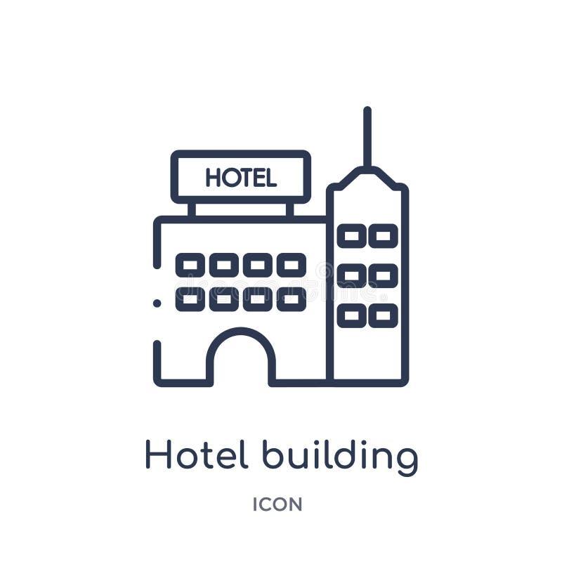 Icono linear del edificio del hotel de la colección del esquema de los días de fiesta Línea fina icono del edificio del hotel ais stock de ilustración
