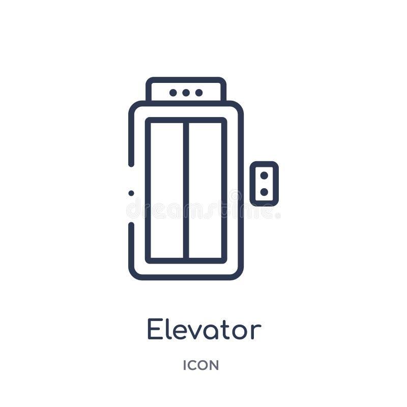 Icono linear del elevador de la colección del esquema del hotel Línea fina icono del elevador aislado en el fondo blanco elevador libre illustration