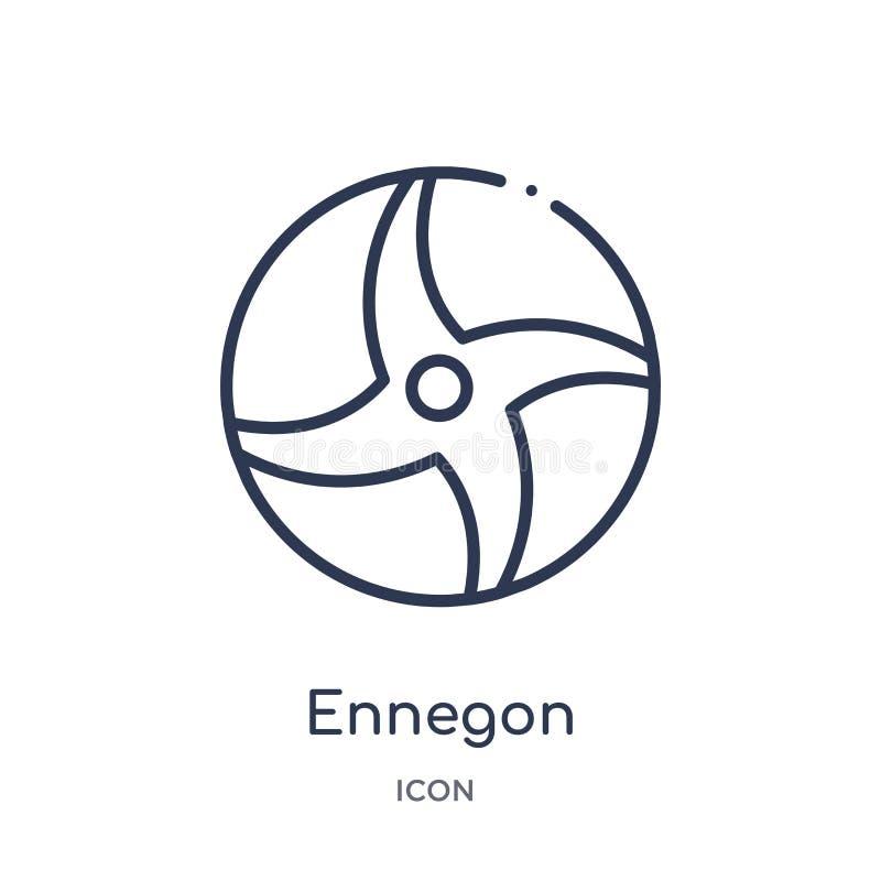 Icono linear del ennegon de la colección del esquema de la geometría Línea fina icono del ennegon aislado en el fondo blanco enne stock de ilustración