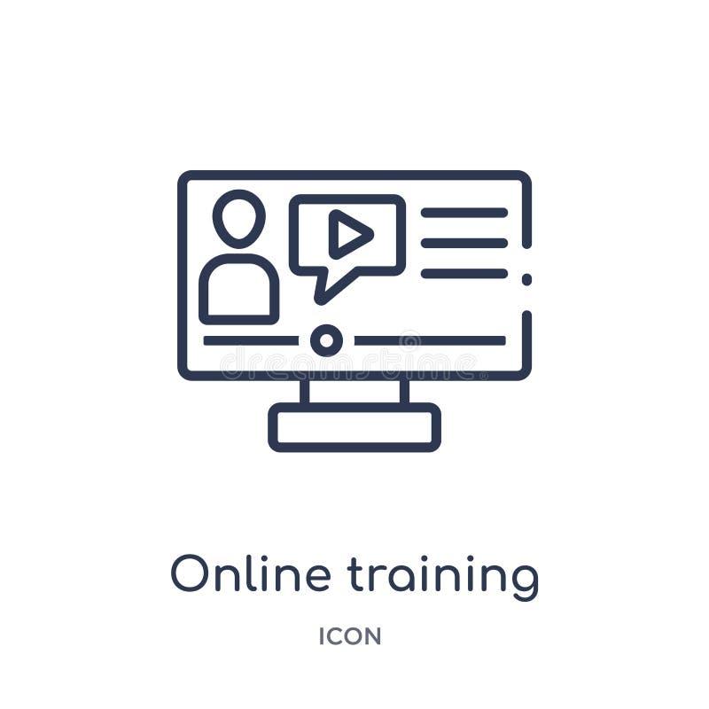 Icono linear del entrenamiento en línea de la colección del esquema del Elearning y de la educación Línea fina vector del entrena libre illustration