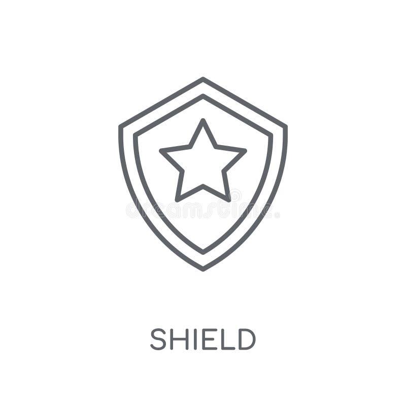 Icono linear del escudo Concepto moderno del logotipo del escudo del esquema en blanco ilustración del vector