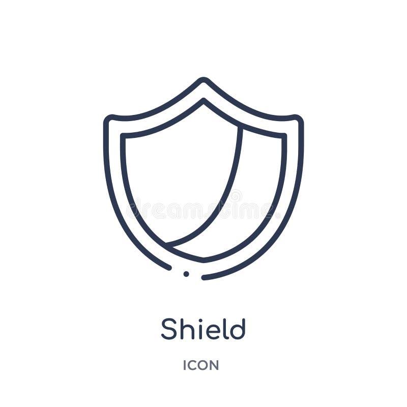 Icono linear del escudo de la colección del esquema del fútbol americano Línea fina vector del escudo aislado en el fondo blanco  stock de ilustración