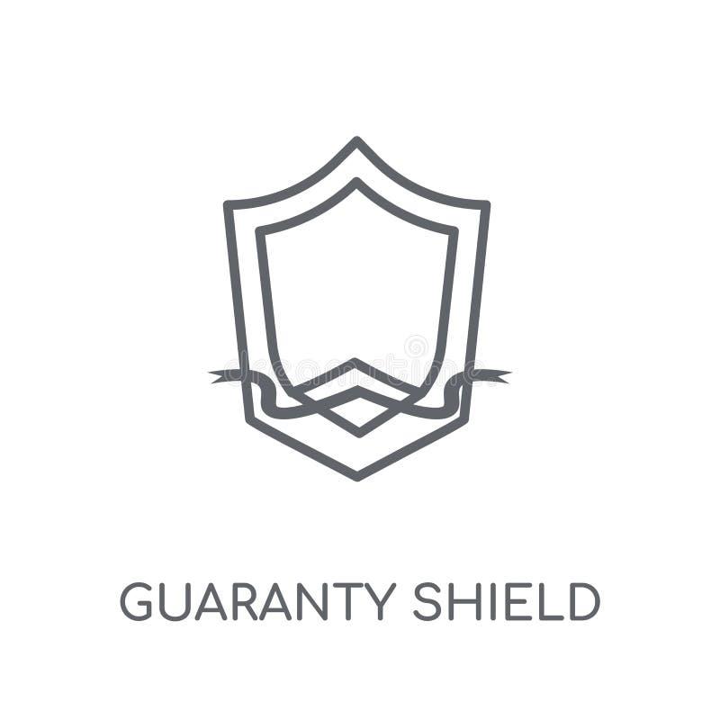 icono linear del escudo de la garantía Logotipo moderno del escudo de la garantía del esquema stock de ilustración