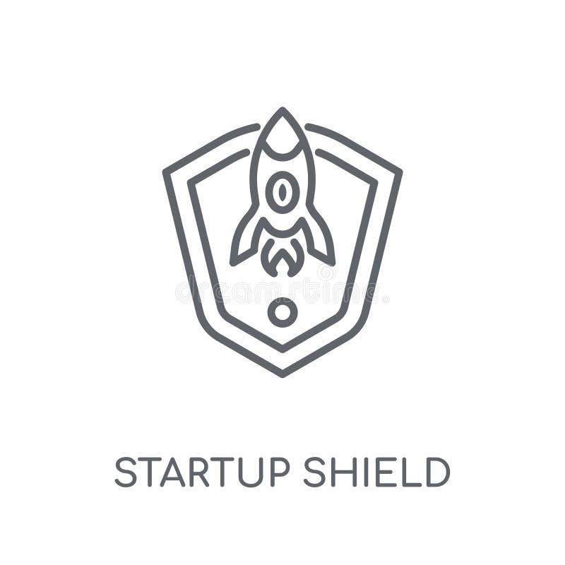 icono linear del escudo de lanzamiento Logotipo de lanzamiento c del escudo del esquema moderno ilustración del vector