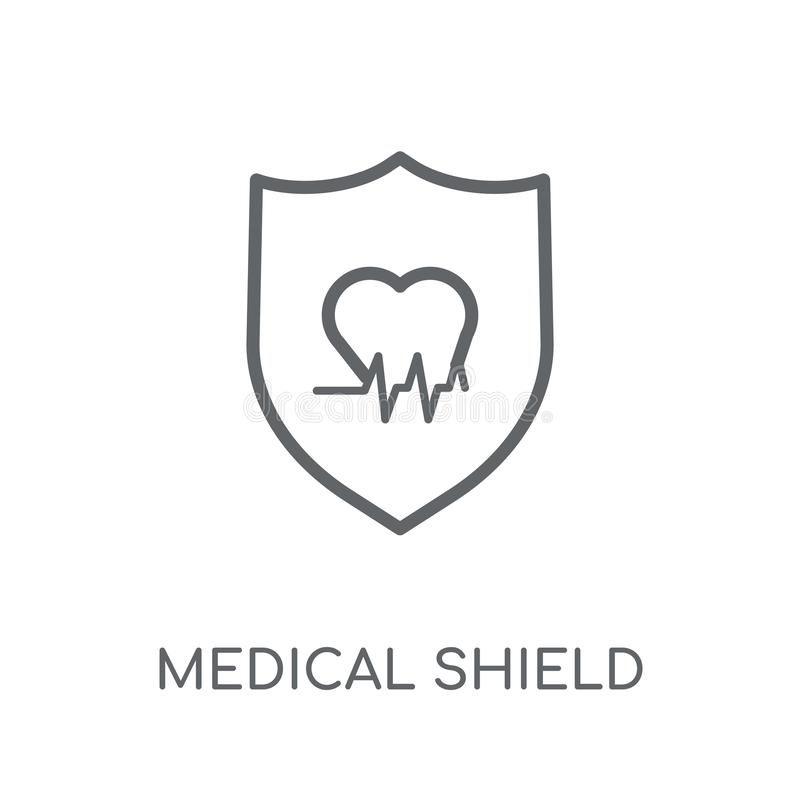 icono linear del escudo médico Logotipo médico c del escudo del esquema moderno libre illustration