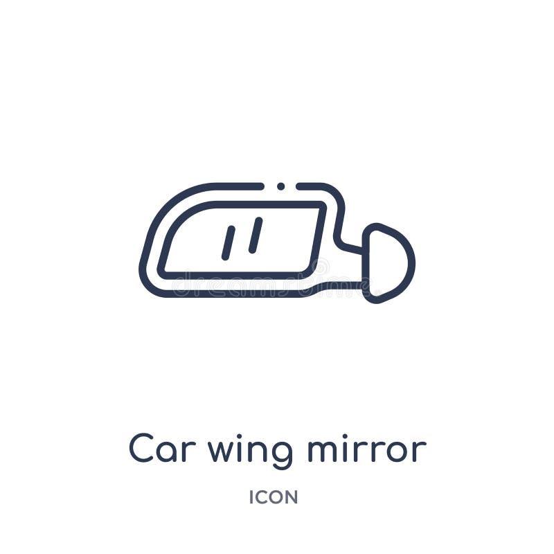 Icono linear del espejo de ala del coche de la colección del esquema de las piezas del coche Línea fina vector del espejo de ala  libre illustration