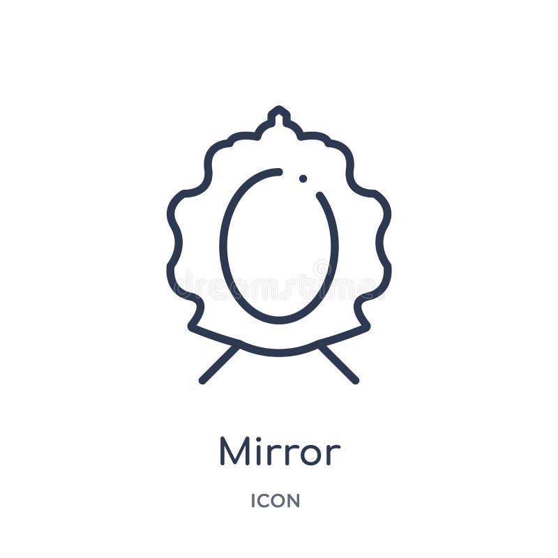 Icono linear del espejo de la colección del esquema de los muebles Línea fina icono del espejo aislado en el fondo blanco espejo  ilustración del vector