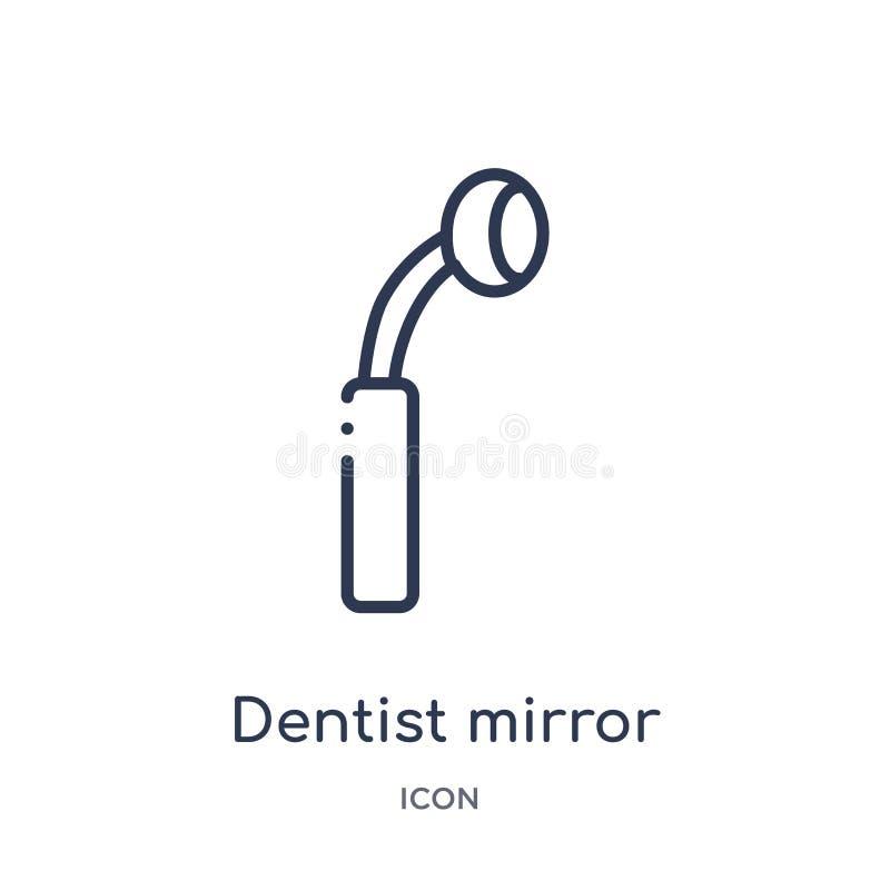 Icono linear del espejo del dentista de la colección del esquema del dentista Línea fina icono del espejo del dentista aislado en stock de ilustración