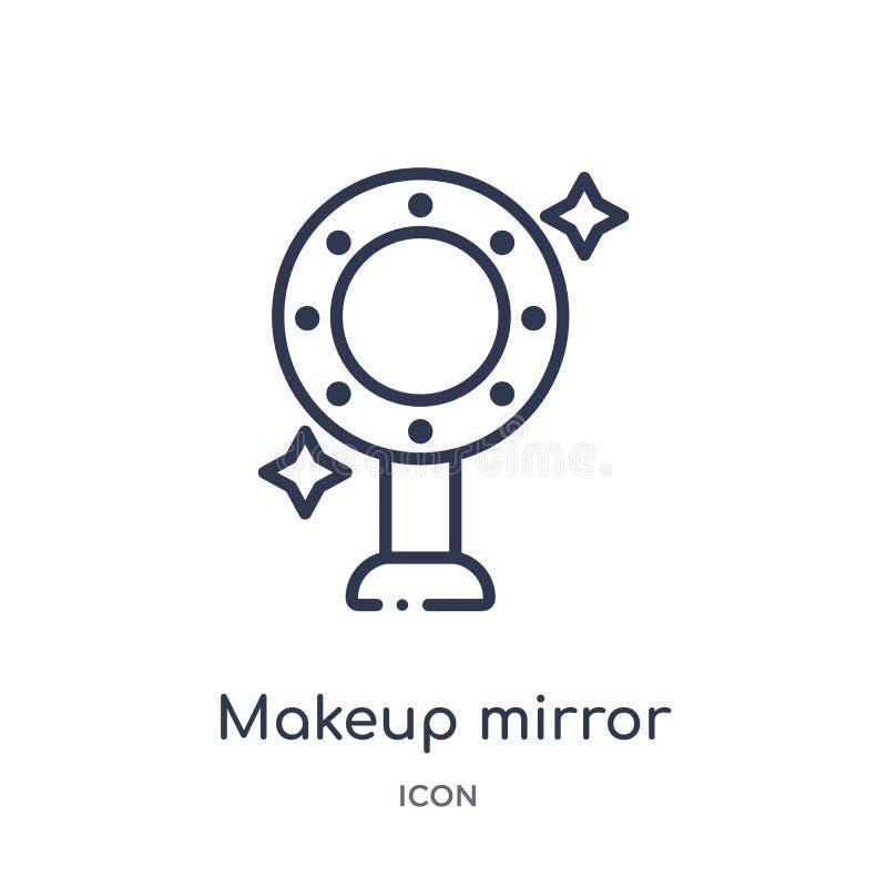 Icono linear del espejo del maquillaje de la colección del esquema de la belleza Línea fina vector del espejo del maquillaje aisl libre illustration