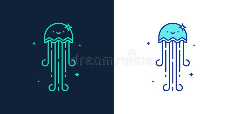 Icono linear del estilo de un vector de las medusas stock de ilustración