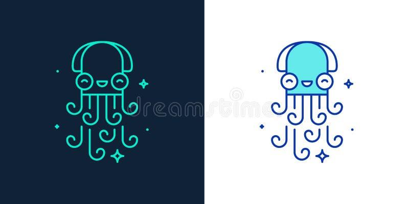 Icono linear del estilo de un vector del pulpo stock de ilustración