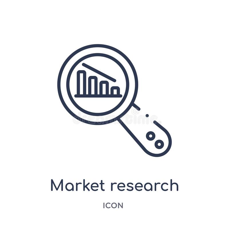 Icono linear del estudio de mercados de la colección del esquema del negocio y del analytics Línea fina vector del estudio de mer libre illustration