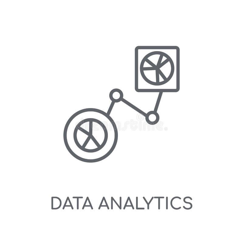 Icono linear del flujo del analytics de los datos Analytics moderno f de los datos del esquema ilustración del vector