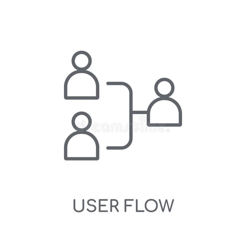 Icono linear del flujo del usuario Concepto moderno del logotipo del flujo del usuario del esquema encendido ilustración del vector