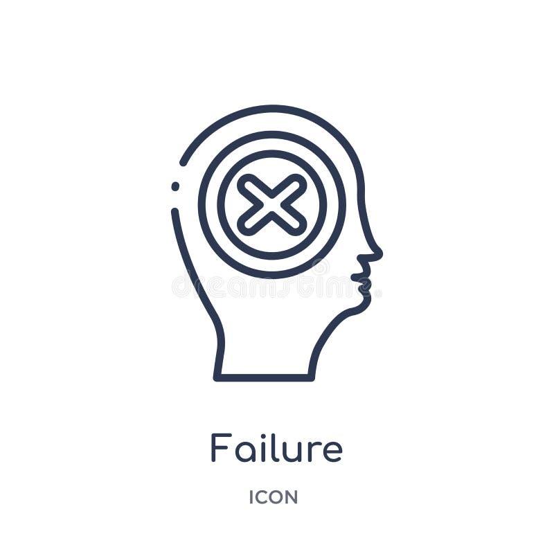 Icono linear del fracaso de la colección del esquema del proceso del cerebro Línea fina vector del fracaso aislado en el fondo bl stock de ilustración